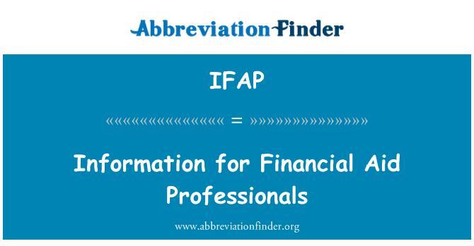 IFAP: Información para profesionales de la ayuda financiera