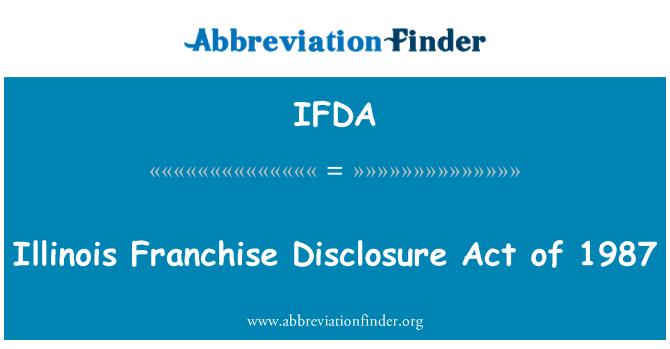 IFDA: Illinois frantsiisi teavitamise seadus 1987