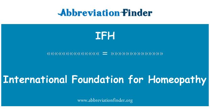 IFH: Antarabangsa asas homeopati