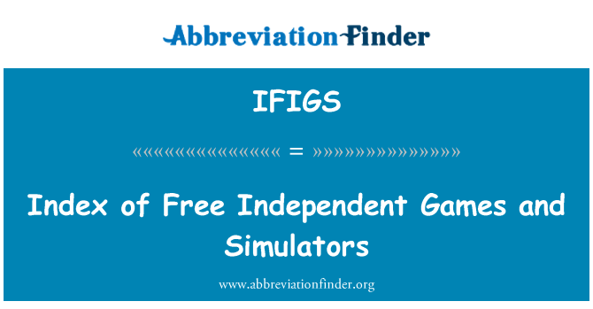 IFIGS: Index of Free Independent Games and Simulators