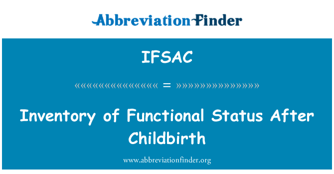 IFSAC: Inventory of Functional Status After Childbirth