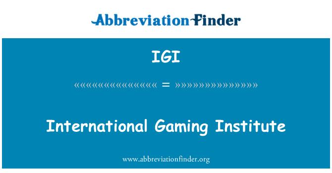 IGI: Uluslararası oyun Enstitüsü