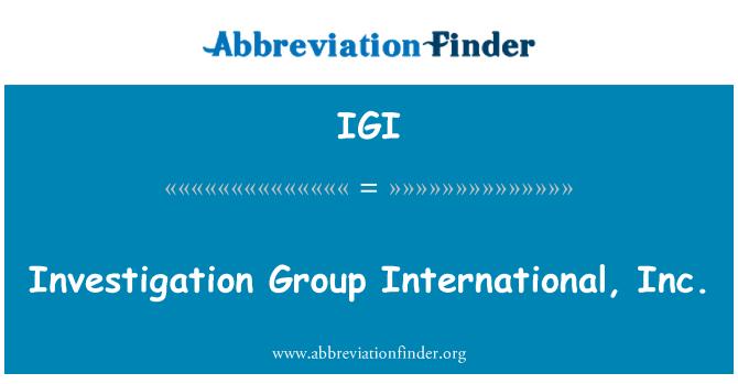 IGI: Uurimise Group International, Inc