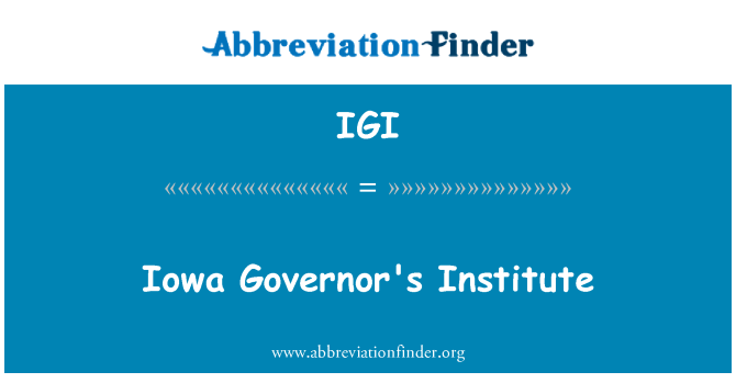 IGI: Iowa Valilik Enstitüsü