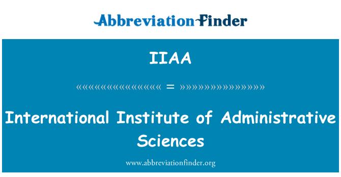 IIAA: International Institute of Administrative Sciences