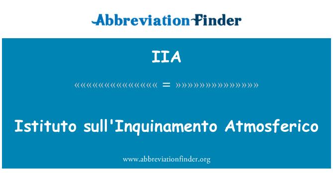 IIA: Istituto sull'Inquinamento Atmosferico