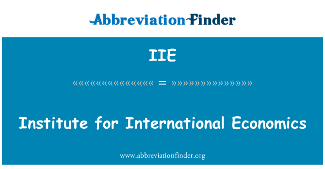 IIE: Institute for International Economics