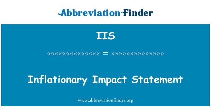 IIS: Inflationary Impact Statement
