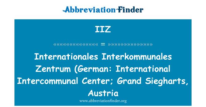 IIZ: Internationales Interkommunales Zentrum (alemán: Centro Internacional de intercomunal; Grand Siegharts, Austria