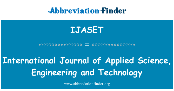 IJASET: International Journal of Applied Science, Engineering and Technology