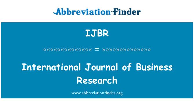IJBR: International Journal of Business Research