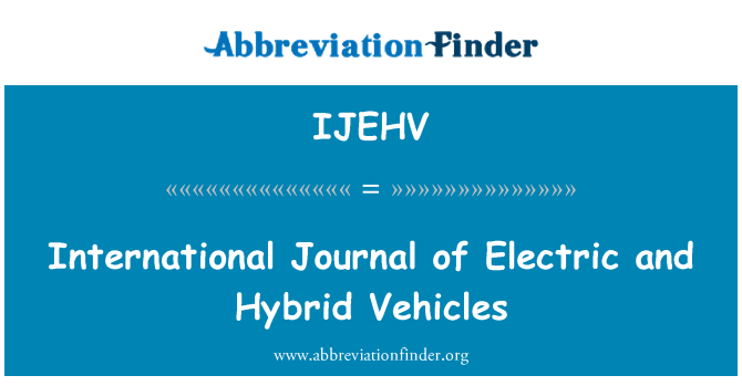 IJEHV: International Journal of Electric and Hybrid Vehicles