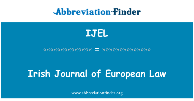 IJEL: Irish Journal of European Law