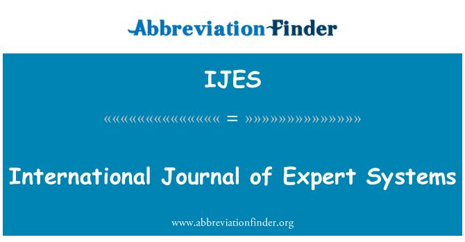 IJES: International Journal of Expert Systems