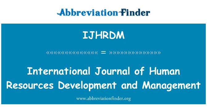 IJHRDM: International Journal of Human Resources Development and Management