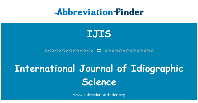 IJIS: International Journal of Idiographic Science