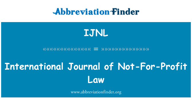 IJNL: International Journal of Not-For-Profit Law