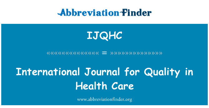 IJQHC: International Journal for Quality in Health Care