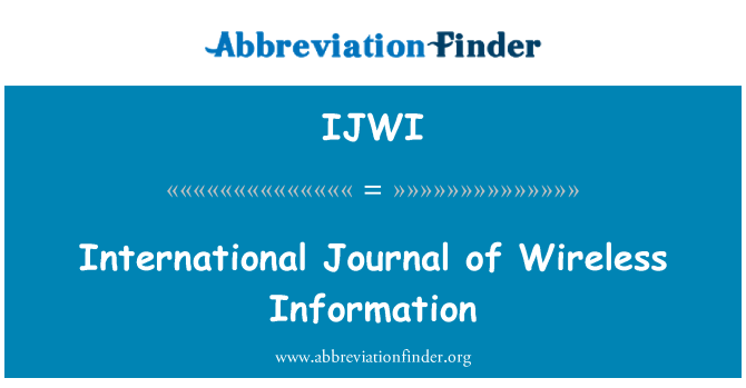 IJWI: International Journal of Wireless Information
