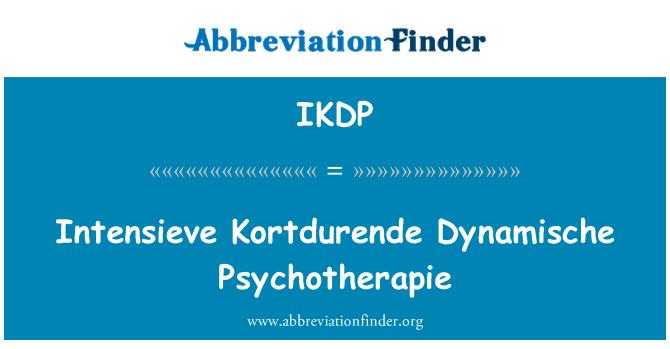 IKDP: Intensieve Kortdurende Dynamische Psychotherapie