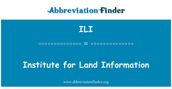ILI: Institute for Land Information