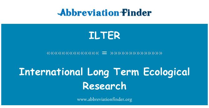 ILTER: 国际长期生态研究