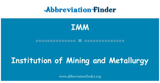 IMM: Institution of Mining and Metallurgy