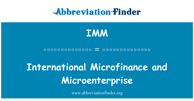 IMM: International Microfinance and Microenterprise
