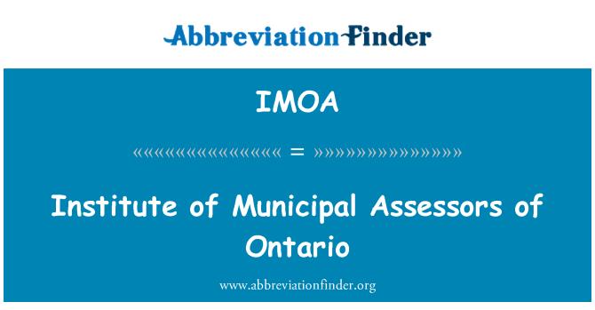 IMOA: Belediye Enstitüsü değerlendirmeciler Ontario