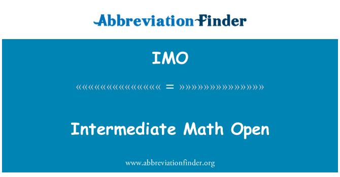 IMO: Intermediate Math Open