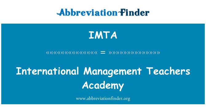 IMTA: International Management Teachers Academy