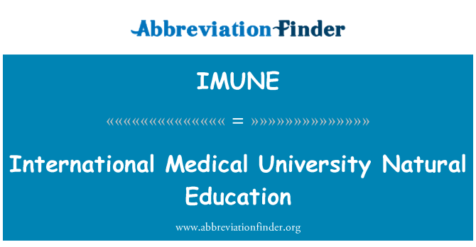 IMUNE: International Medical University Natural Education