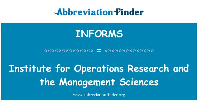 INFORMS: Instituudi tegevus teadusuuringute ja juhtimise Teaduste