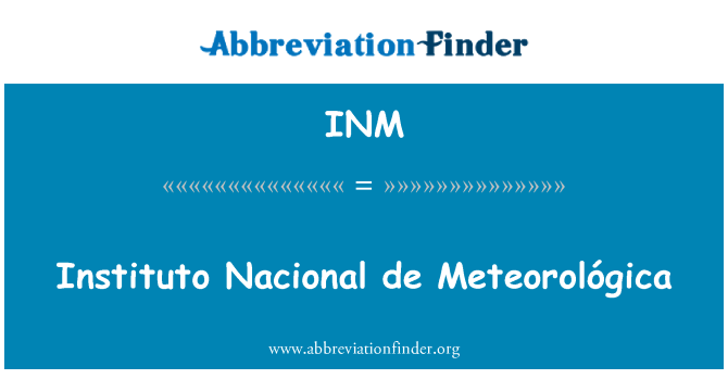INM: Instituto Nacional de Meteorológica