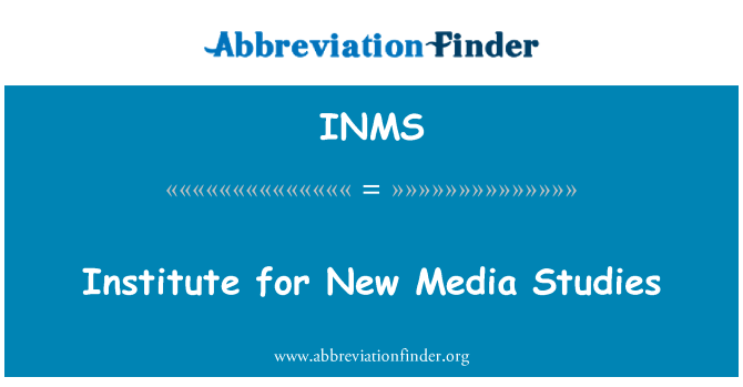 INMS: Institute for New Media Studies