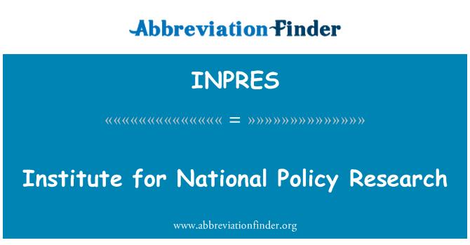 INPRES: Istitut għar-riċerka tal-politika nazzjonali