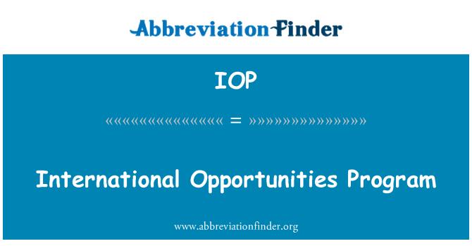 IOP: International Opportunities Program