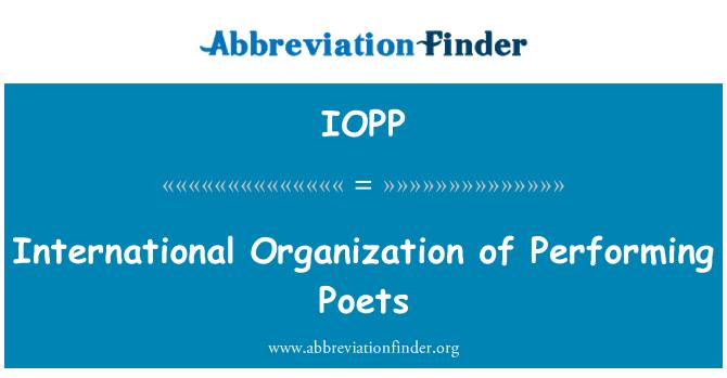 IOPP: Organización Internacional de llevar a cabo los poetas