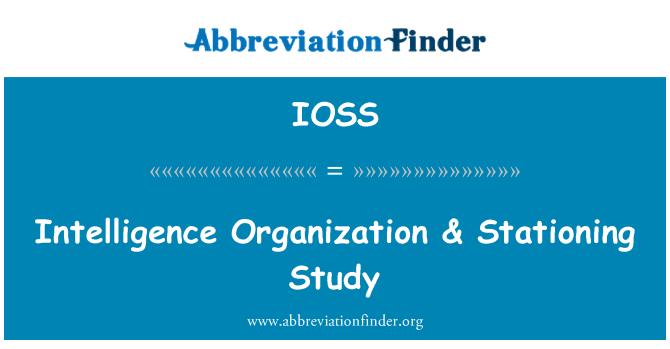 IOSS: Organización de inteligencia & estacionamiento estudio