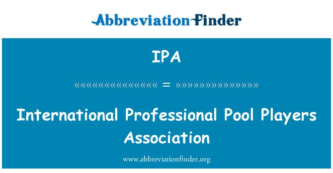 IPA: International Professional Pool Players Association