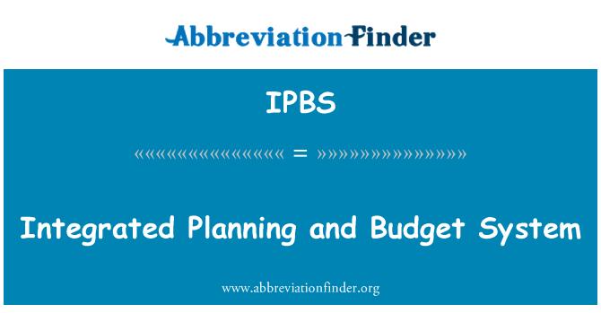 IPBS: 综合规划和预算系统