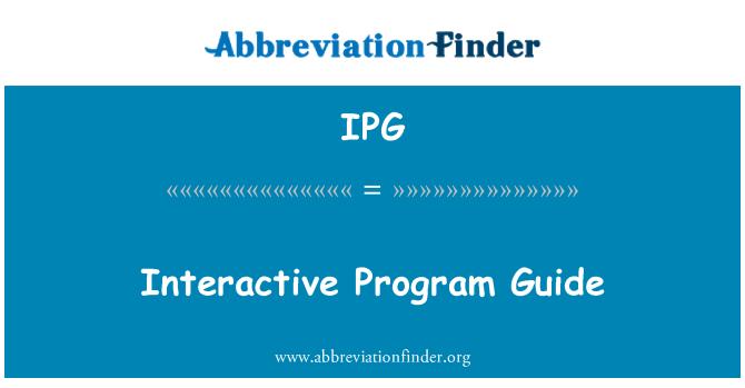 IPG: Interactive Program Guide