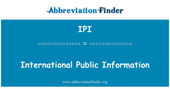 IPI: International Public Information