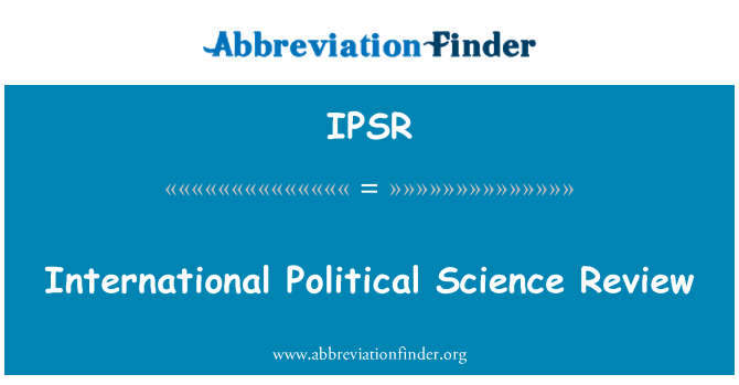 IPSR: International Political Science Review