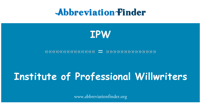 IPW: Institute of Professional Willwriters