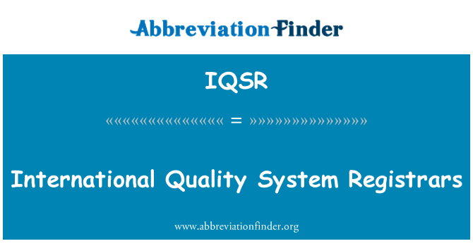 IQSR: International Quality System Registrars