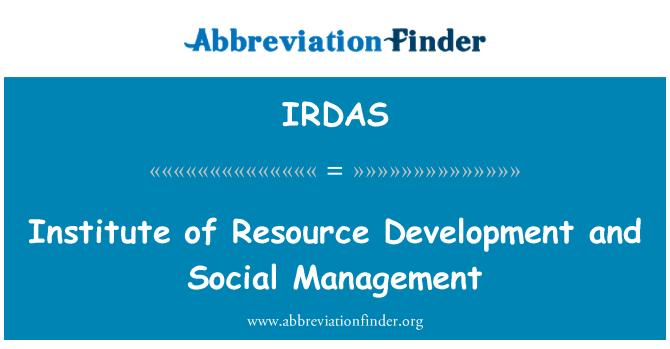IRDAS: Institute of Resource Development and Social Management