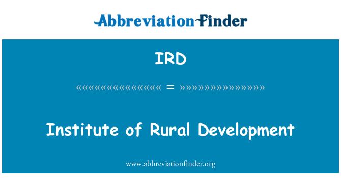 IRD: Institute of Rural Development