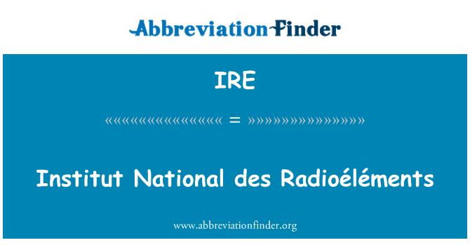 IRE: Institut National des Radioéléments