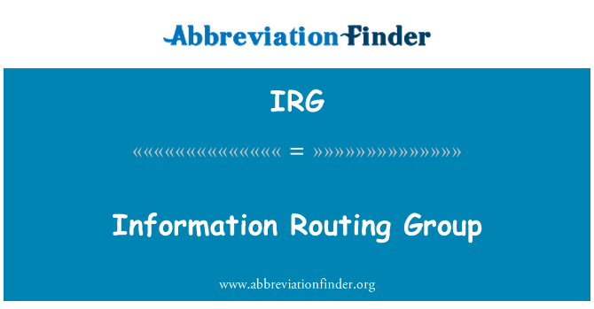 IRG: Information Routing Group